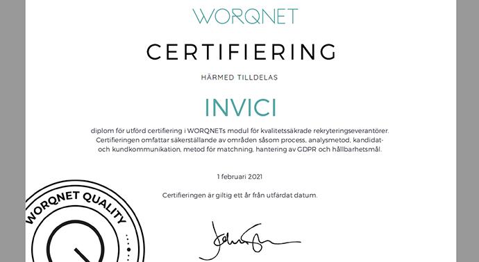 Invici - certifierad rekryteringsleverantör